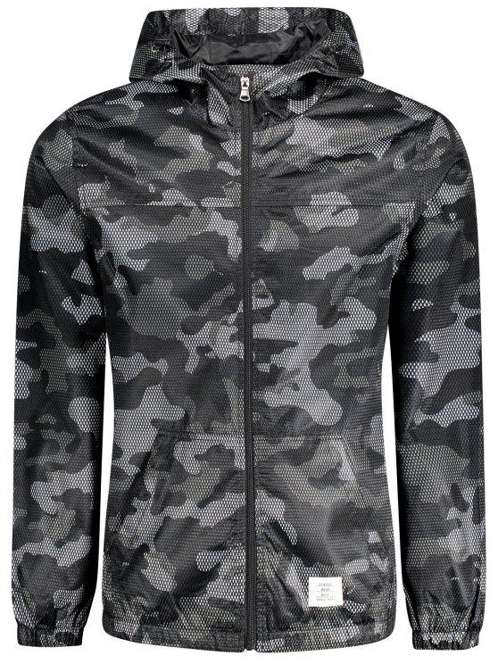 outfits Patched Fishnet Camo Windbreaker - BLACK XL