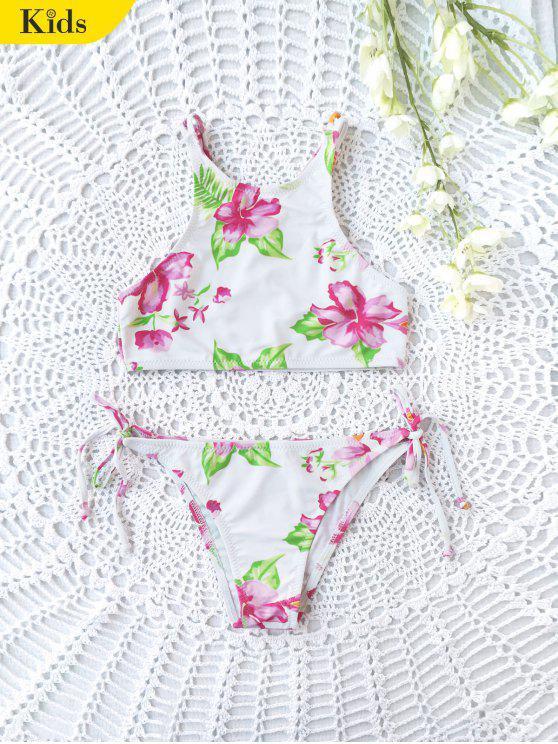 بيكيني طباعة الأزهار عالية الرقبة للأطفال - أبيض 5T