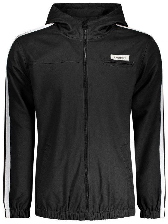 Windbreaker Jacke mit Grafik Patch und Streifenmuster - Schwarz XL