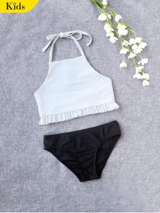 Ruffles Halter Kids Bikini - Blanc 7T