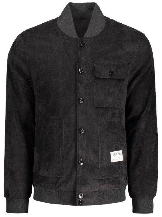lady Button Up Patched Corduroy Jacket - BLACK 2XL