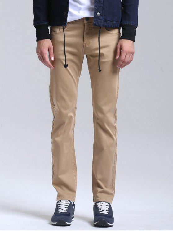 Casual Slim Fit Chino Pants - Cor de Caqui 38