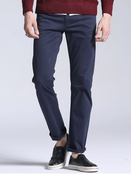 Slim Fit Stretch Casual Pants - Azul Escuro 38