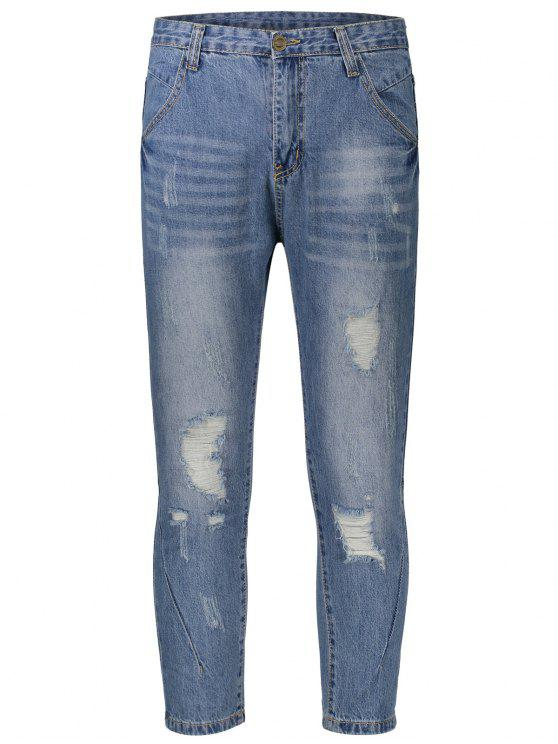 ladies Ripped Taper Jeans - DENIM BLUE 34
