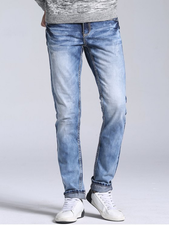 hot Straight Leg Faded Jeans - LIGHT BLUE 34