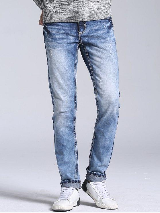 Calças Jeans Desbotada de Pernas Retas - Azul Claro 34