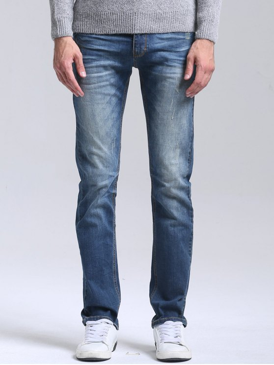 shop Scratched Straight Leg Jeans - BLUE 34