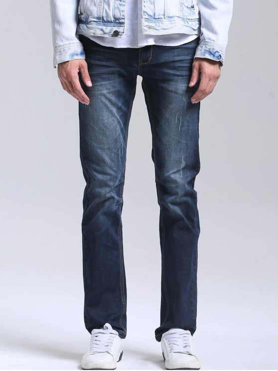Zipper Fly Hommes Straight Jeans - Azul Escuro 34