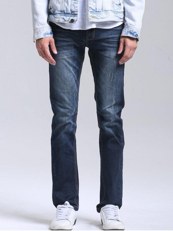 fancy Zipper Fly Men Straight Jeans - DEEP BLUE 34