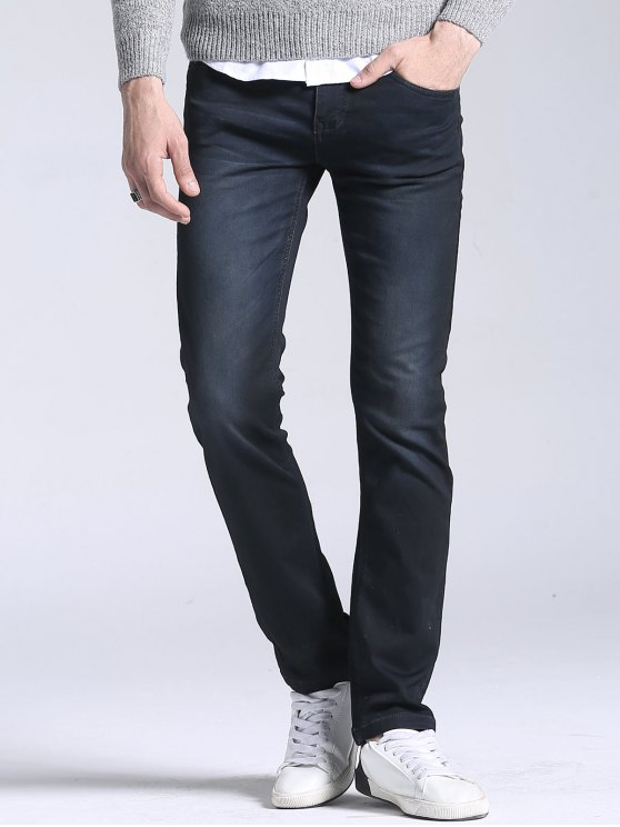 Regular Fit Straight Leg Jeans - Preto 38