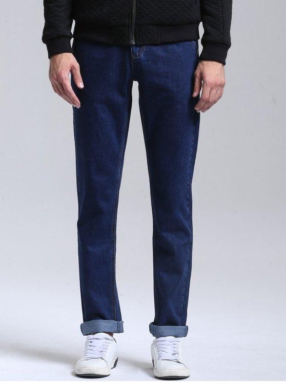 women Zipper Fly Straight Jeans - DEEP BLUE 32