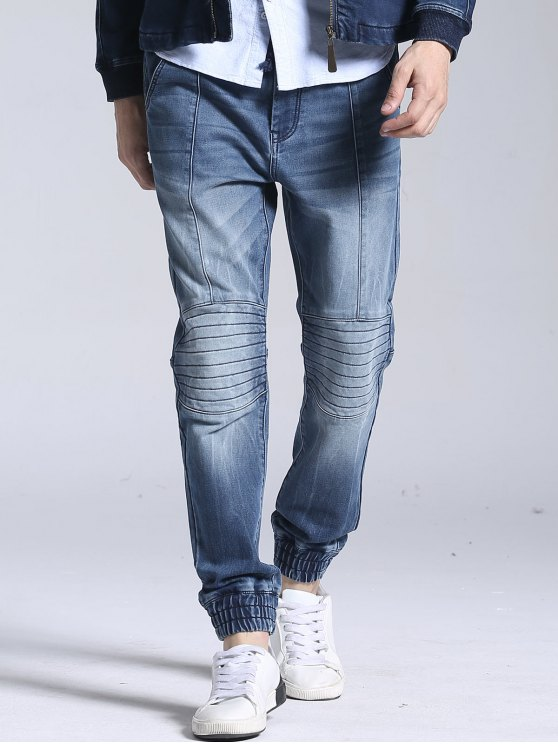 lady Stitching Faded Jogger Jeans - BLUE 36