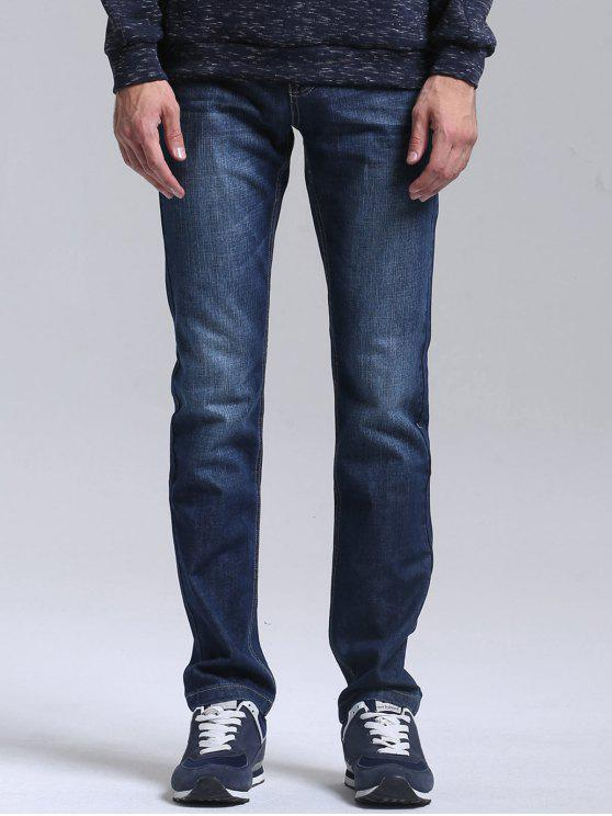 Bolsillos Zipper Fly Straight Jeans - Azul 32