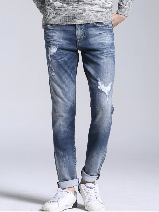 Zipper Fly Vintage Ripped Straight Jeans - Azul claro 34