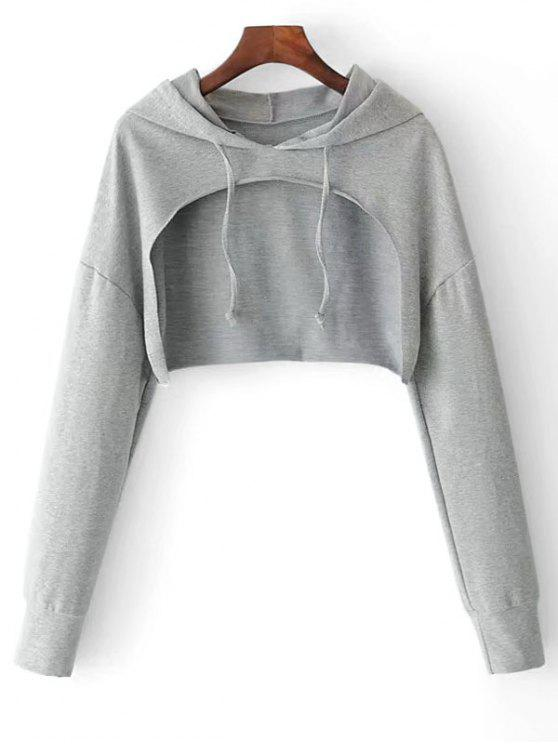 Cape Drop Shoulder Crop Hoodie - Gris TAILLE MOYENNE