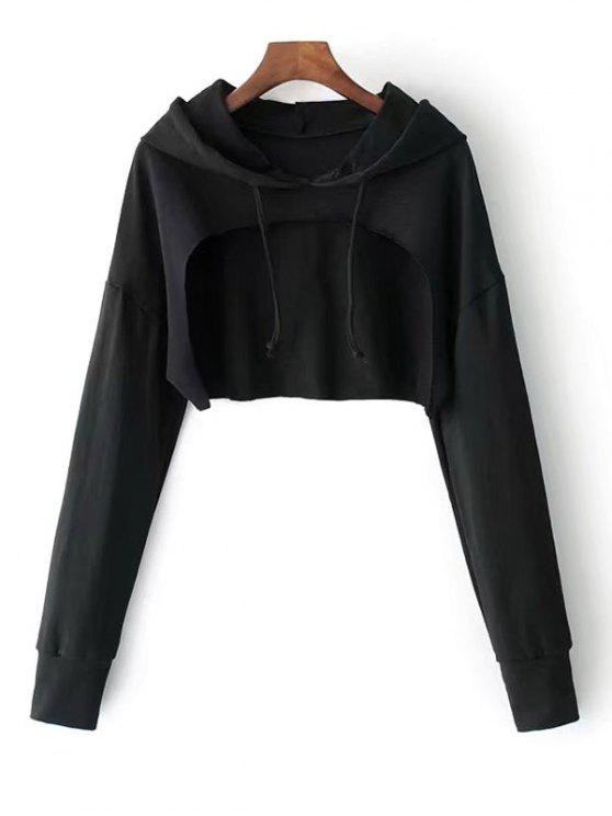 best Cape Drop Shoulder Crop Hoodie - BLACK ONE SIZE