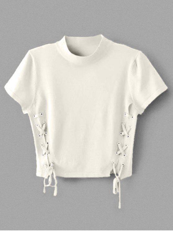 Tige à encolure en tricot à col ras du cou - Blanc M