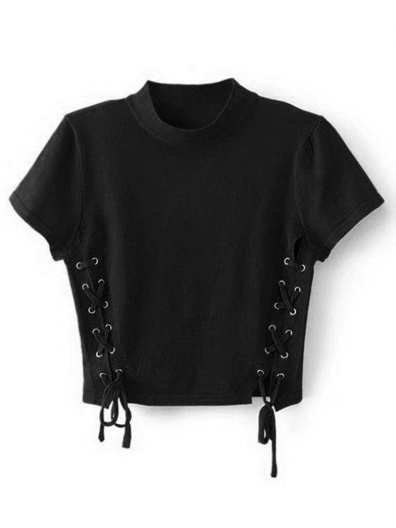 ladies Crew Neck Knit Lace-up Crop Top - BLACK S