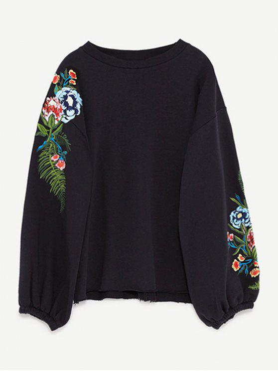 unique Drop Shoulder Embroidery Sweatshirt - BLACK L
