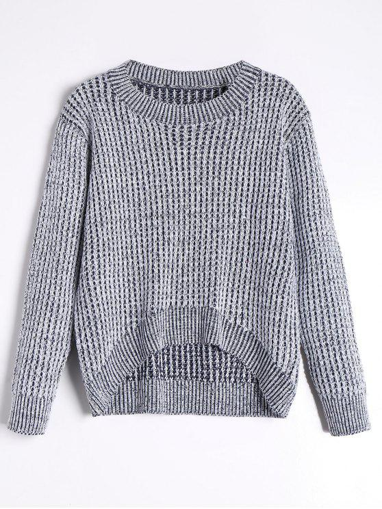 women's High Low Pullover Sweater - GRAY ONE SIZE