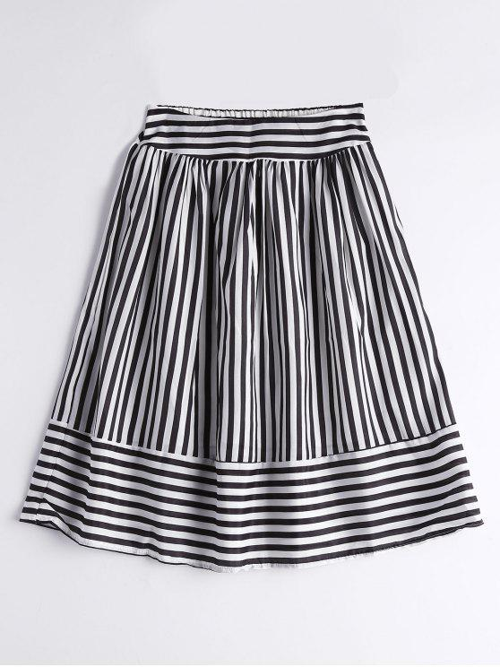 3ea34331356 27% OFF  2019 Smocked High Waist Striped Skirt In BLACK