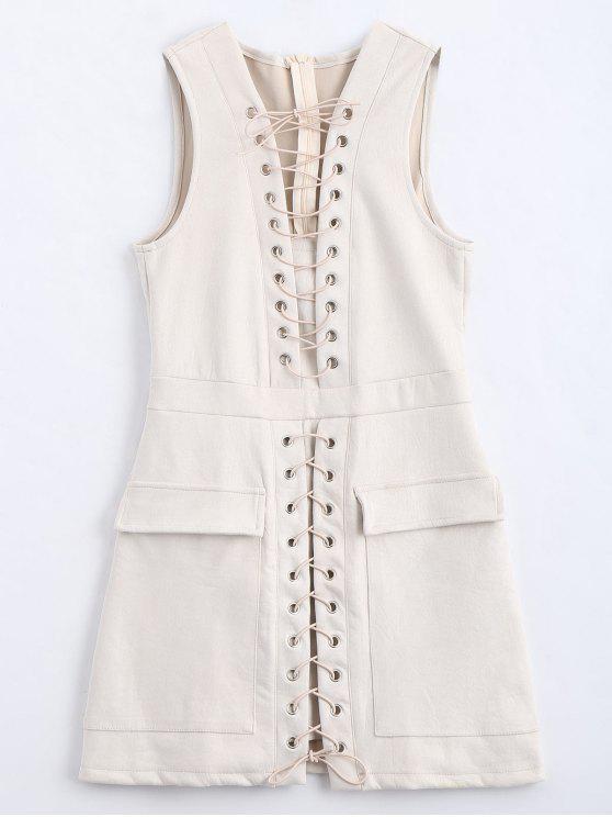 فستان مصغر انقسام رباط بلا أكمام - أبيض فاتح S