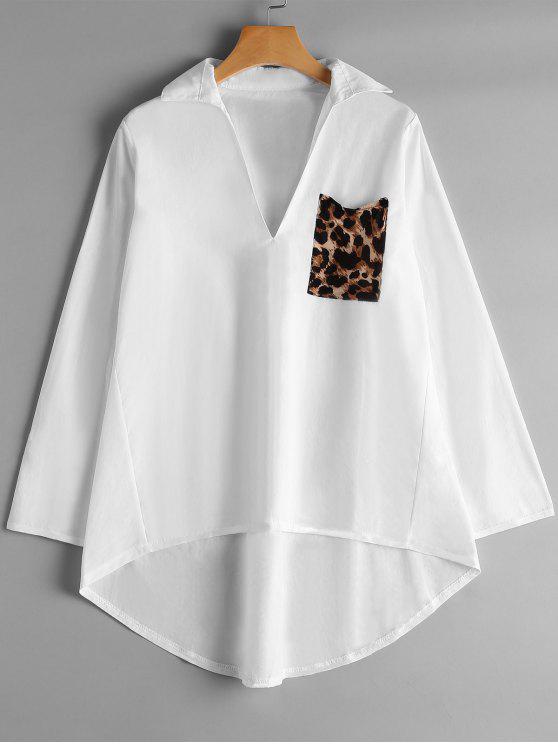 buy V Neck Leopard Pocket High Low Blouse - WHITE S