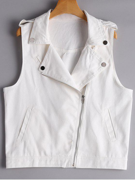 affordable Asymmetric Zipper Denim Waistcoat - WHITE S