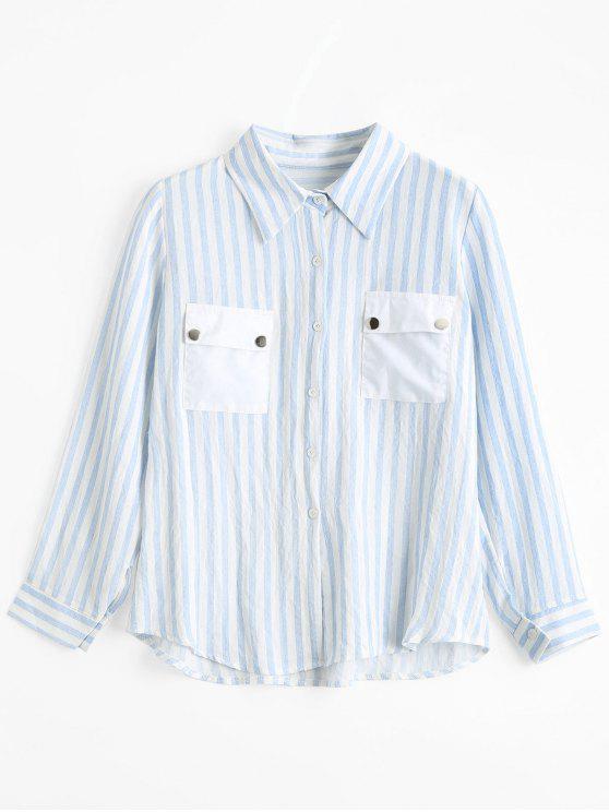 Streifen Knopf Unten Shirt Mit Klappentaschen - Streifen  XL