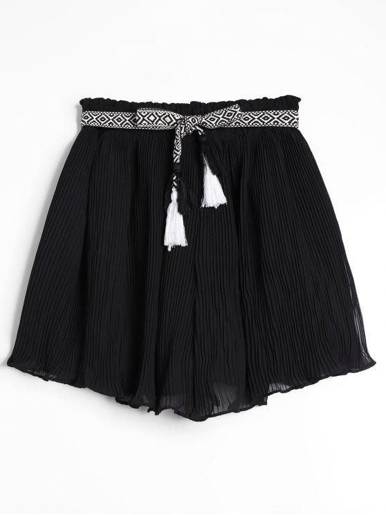 Pantalones Cortos Plisados de Gasa - Negro Talla única