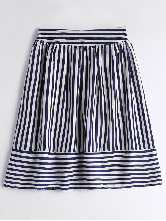 ea0c8e474b0 20% OFF  2019 Smocked High Waist Striped Skirt In PURPLISH BLUE
