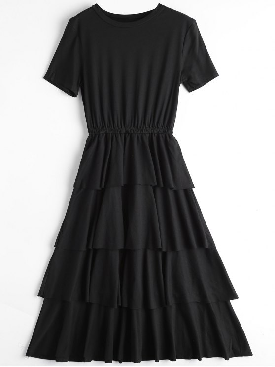 outfit Round Collar Layered Dress - BLACK L