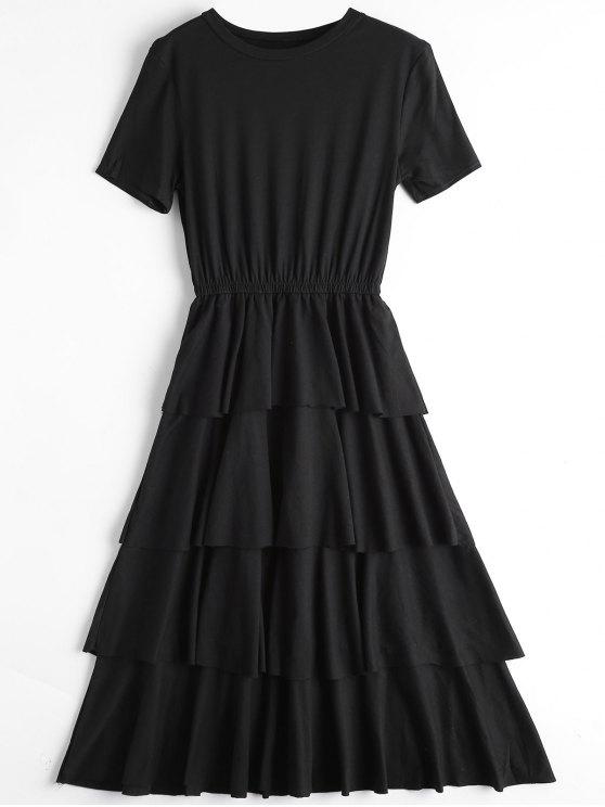 Vestido de cuello redondo con capas - Negro S
