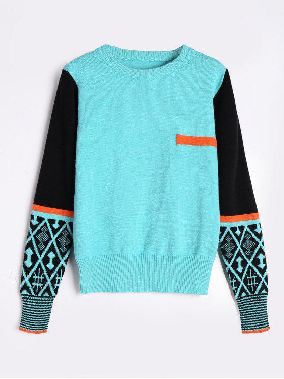 Suéter de cuello redondo con bloqueo de color - Fresco Única Talla