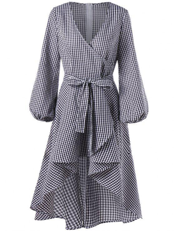 fashion Lantern Sleeve High Low Plaid Surplice Dress - CHECKED 2XL