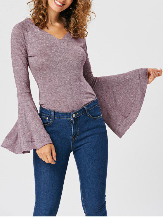 Flounce Flare Sleeve V-neck T-shirt - Rosada Roxa XL