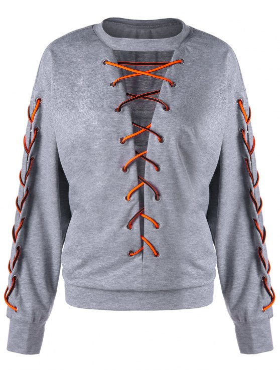 women's Lace Up Low Cut  Plus Size Sweatshirt - LIGHT GREY 2XL
