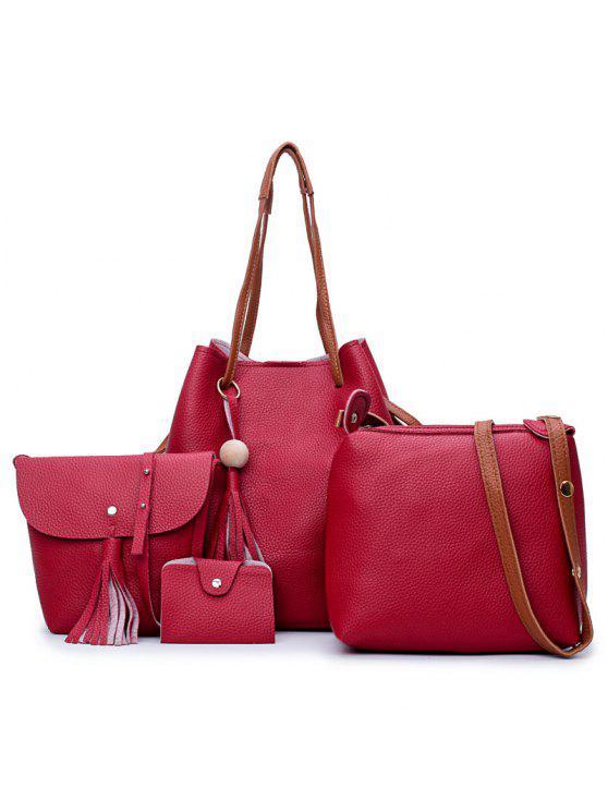 4 قطع شرابة فو الجلود حقيبة الكتف مجموعة - أحمر