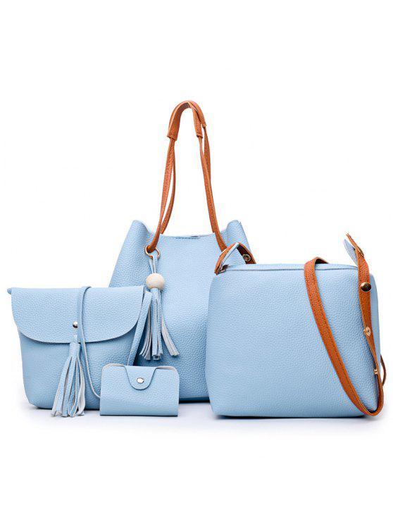 4 قطع شرابة فو الجلود حقيبة الكتف مجموعة - أزرق سماوي