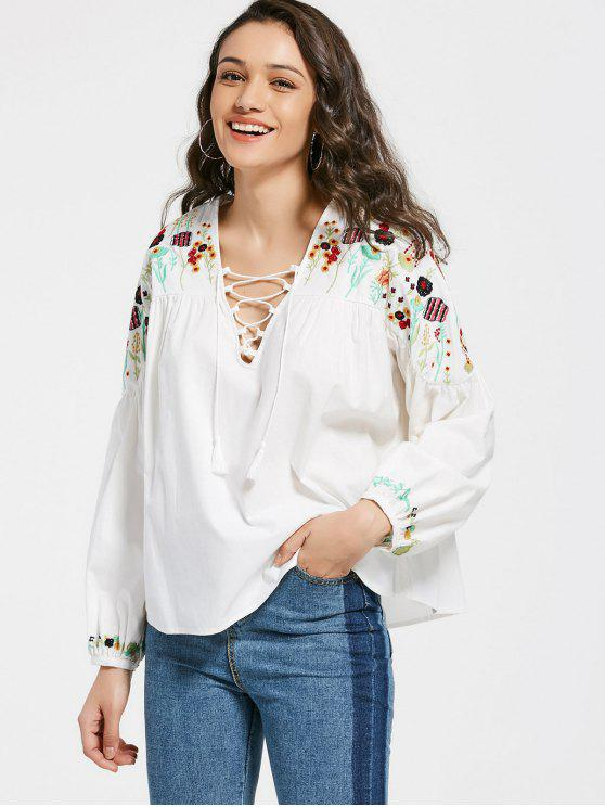fashion Floral Embroidery Lace Up Blouse - WHITE S