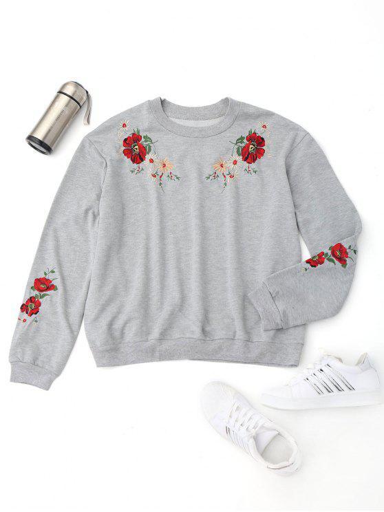 Sweatshirt brodé floral - Gris S