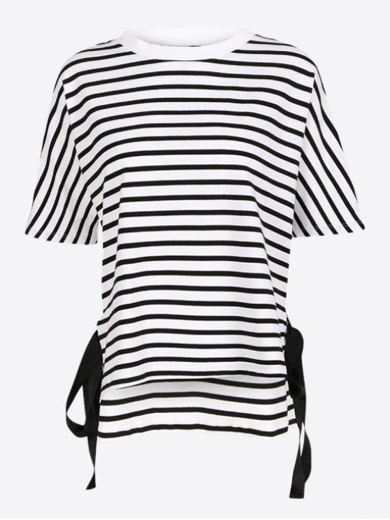 Camiseta rayada del lazo lateral - Raya S