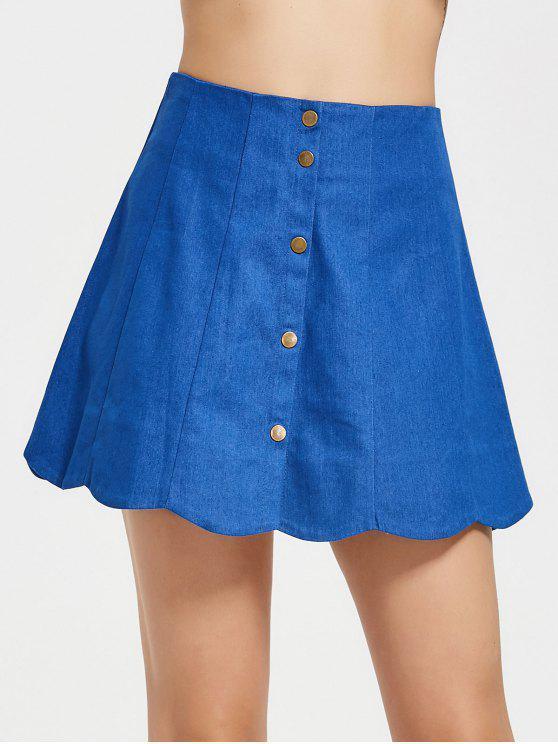 تنورة صدفية عالية الخصر زر - أزرق L