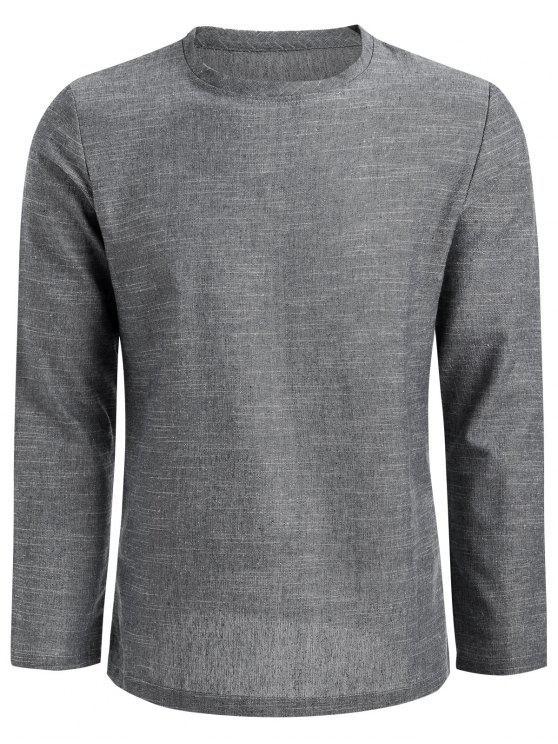 015342cc1 26% OFF] 2019 Side Zip Linen Long Sleeve T-shirt In LIGHT GRAY | ZAFUL