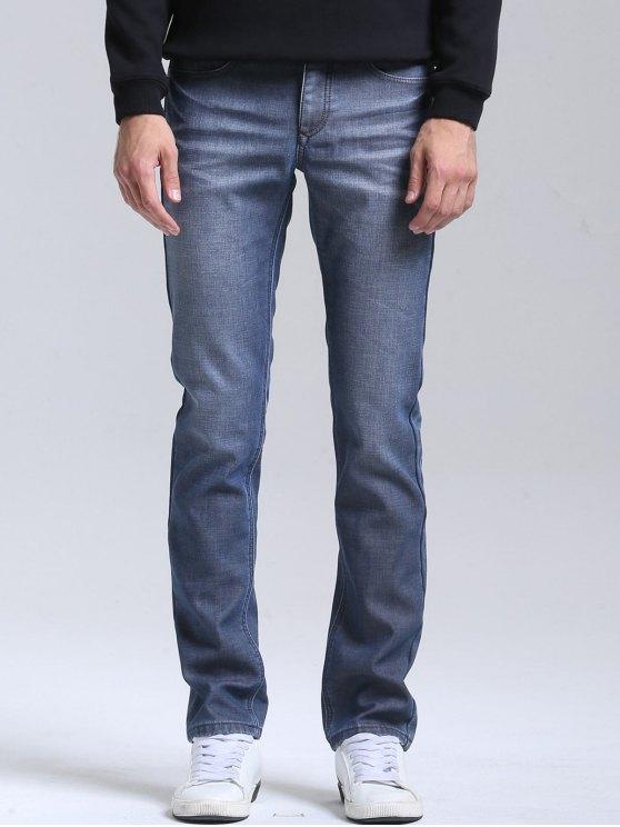 Schlanke Jeans mit Straight Bein - Blau 38