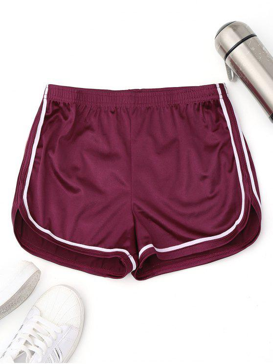 hot Elastic Waist Satin Sports Dolphin Shorts - PURPLISH RED L
