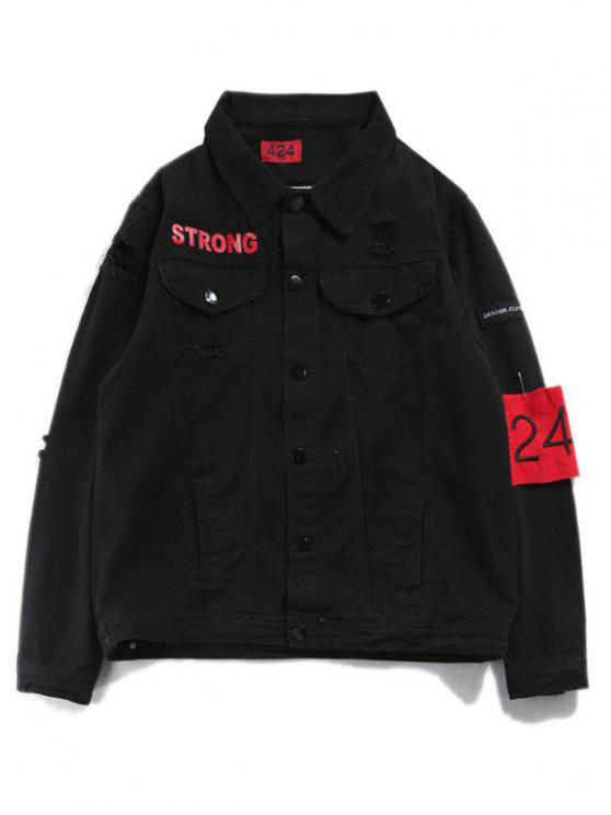 Ripped Streetwear Armband Denim Jacket - Preto 2XL
