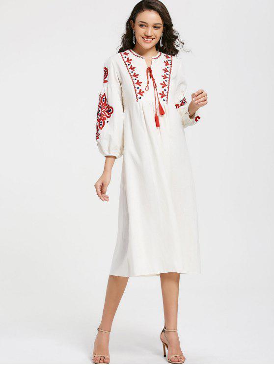 Kleid mit Puff Ärmel, Blumen Patch und Quasten - Weiß Eine Größe