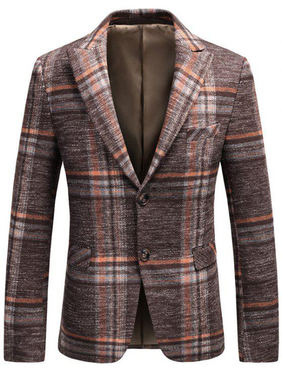 Blazer de tela escocesa de tweed de pecho único - Naranja 3XL