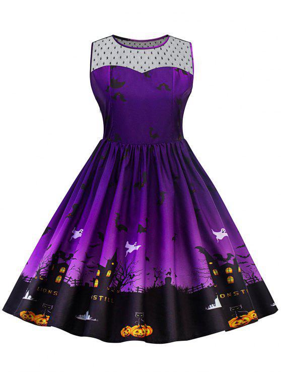 Halloween Lace Panel Vestido de talla grande - Púrpura XL